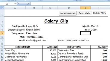 Excel VBA: Salay Pay Slip পিডিএফ PDF আকারে save করে Automatically প্রত্যেকের ইমেইলে Send করার Program