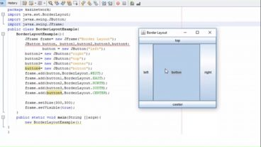 জাভা কোর টিউটোরিয়াল Java SWING JFrame Border Layout Example