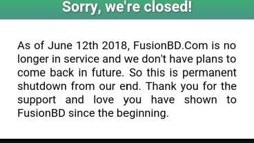 [Fusionbdcom] বন্ধ হওয়ার পর ফিরে এলো দেশের জনপ্রিয় ওয়েবসাইট Fusionbd
