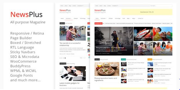 অসাধারন News Plus wordpress theme free download