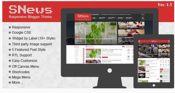 SNEWS -v.1 News Responsive Blogger template-Full version