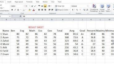 কিভাবে Microsoft Excel এ একটি পুনাঙ্গ Student Result Sheet তৈরী করবেন